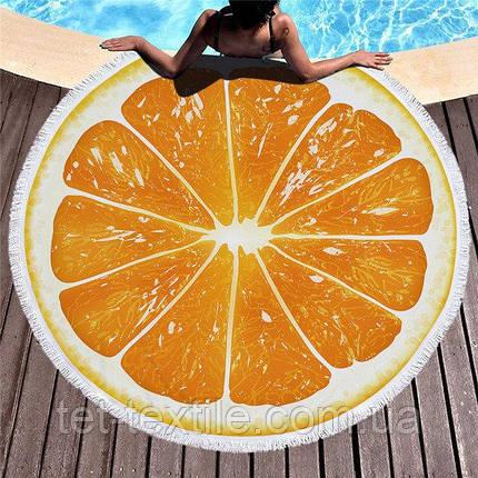 Круглое пляжное полотенце Апельсин (150 см.), фото 2