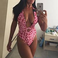 Женский сдельный купальник с завязками красный, фото 1