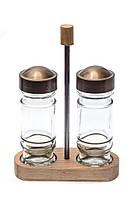 Набор стеклянных баночек для специй 80 мл на деревянной подставке Everglass