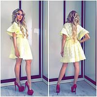 Модное желтое летнее платье