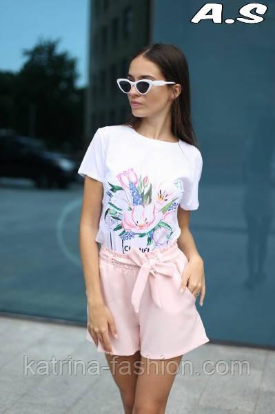 Женский модный костюм: футболка с принтами и шорты с поясом (в расцветках)