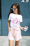 Женский модный костюм: футболка с принтами и шорты с поясом (в расцветках), фото 2