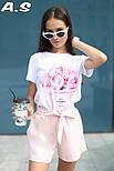 Женский модный костюм: футболка с принтами и шорты с поясом (в расцветках), фото 4