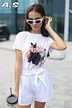 Женский модный костюм: футболка с принтами и шорты с поясом (в расцветках), фото 6