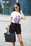 Женский модный костюм: футболка с принтами и шорты с поясом (в расцветках), фото 5