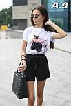 Женский модный костюм: футболка с принтами и шорты с поясом (в расцветках), фото 7