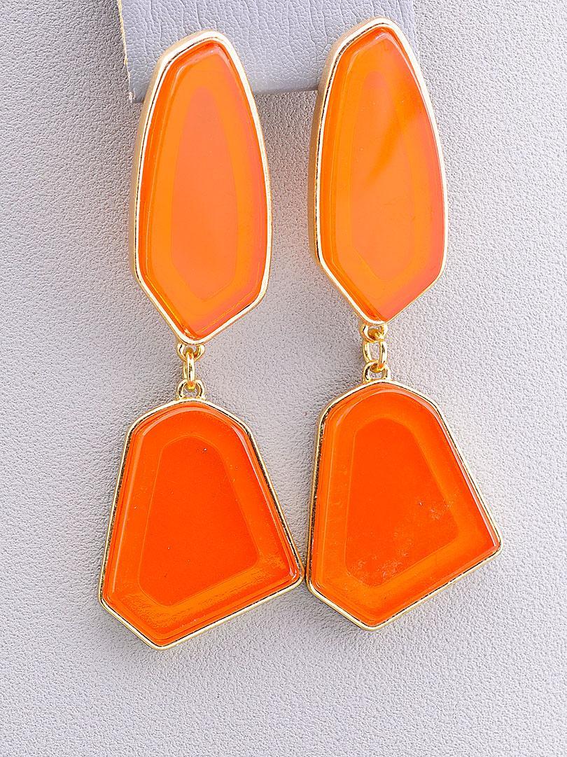 Серьги/сережки женские длинные, оранжевые