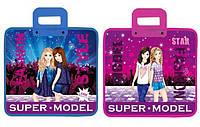 Портфель з пластиковми ручками, 30*34см, 340 мкр KIDIS , серія SUPER MODEL (дівчата) /240/ (7468)