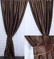 """Комплект готовых штор из ткани блэкаут """"Софт"""". Цвет темно коричневый 094ш, фото 1"""