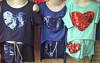 Модный летний костюм Сердце для девочки подростка 5-10 лет, фото 1