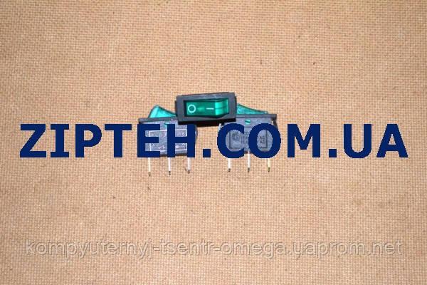 Кнопка универсальная одинарная узкая KСD3 (15A/250V,15A/125V,зеленая,с подсветкой)