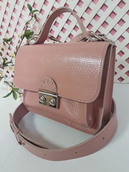 Сумка-клатч женская натуральная кожа, розовый глянец рептилия 334
