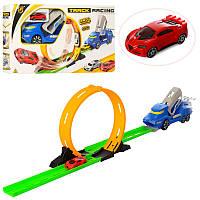 Трек (детский авто трек) в виде машиныc запуском и трюковыми кругами (горками), P870-A