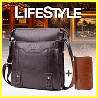 a2a8b6dff397 Кожаная мужская сумка Polo Videng (Vicuna) + Портмоне Baellerry Leather в  Подарок