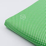 """Ткань хлопковая """"Пунктирный горошек"""" белый на зелёном (№2133), фото 3"""