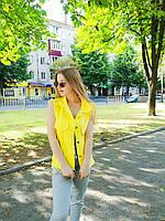 Женская джинсовая жилетка oversize с крупными пайетками, желтого, розвого и голубого цвета . Китай