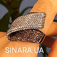 Эксклюзивное серебряное кольцо с коньячными фианитами и черным родием, фото 4