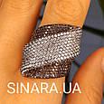 Эксклюзивное серебряное кольцо с коньячными фианитами и черным родием, фото 2