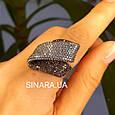 Эксклюзивное серебряное кольцо с коньячными фианитами и черным родием, фото 3