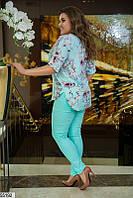 Летний костюм брючный женский больших размеров 48-62, 2 цвета