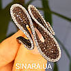 Эксклюзивное серебряное кольцо - Коктейльное кольцо с коньячными фианитами - Брендовое серебряное кольцо, фото 7
