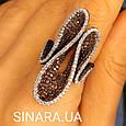 Эксклюзивное серебряное кольцо - Коктейльное кольцо с коньячными фианитами - Брендовое серебряное кольцо, фото 6