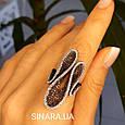 Эксклюзивное серебряное кольцо - Коктейльное кольцо с коньячными фианитами - Брендовое серебряное кольцо, фото 3