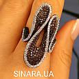Эксклюзивное серебряное кольцо - Коктейльное кольцо с коньячными фианитами - Брендовое серебряное кольцо, фото 5