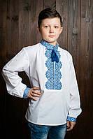 Вышиванка с длинным рукавом для мальчика с красивым синим узором