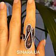 Эксклюзивное серебряное кольцо - Коктейльное кольцо с коньячными фианитами - Брендовое серебряное кольцо, фото 4
