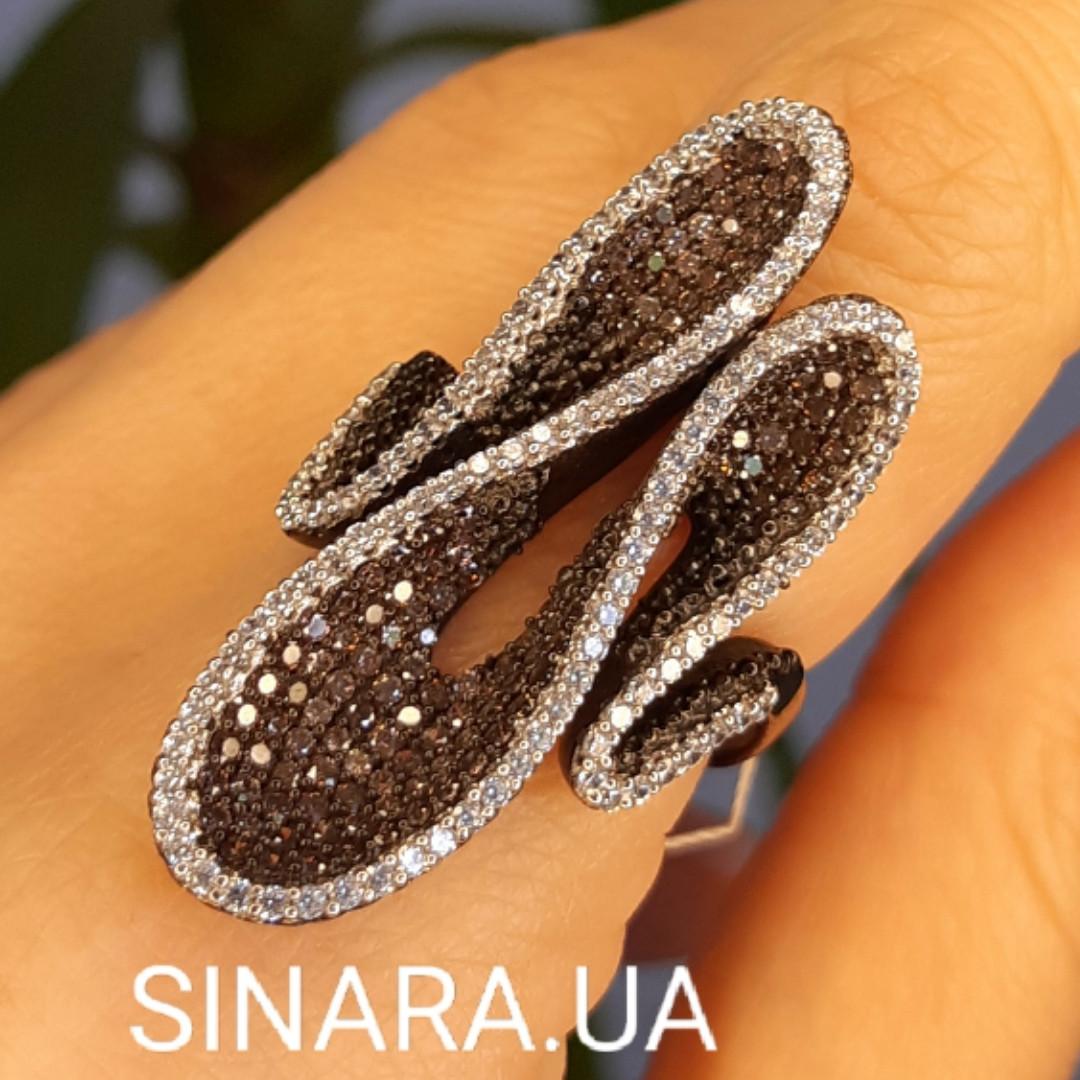 Эксклюзивное серебряное кольцо - Коктейльное кольцо с коньячными фианитами - Брендовое серебряное кольцо