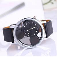 Женские часы Микки Маус кожаный ремешок (Чёрные)