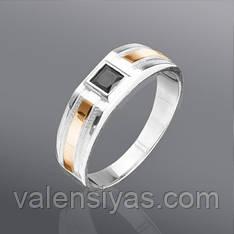Мужское серебряное кольцо с золотом и цирконием