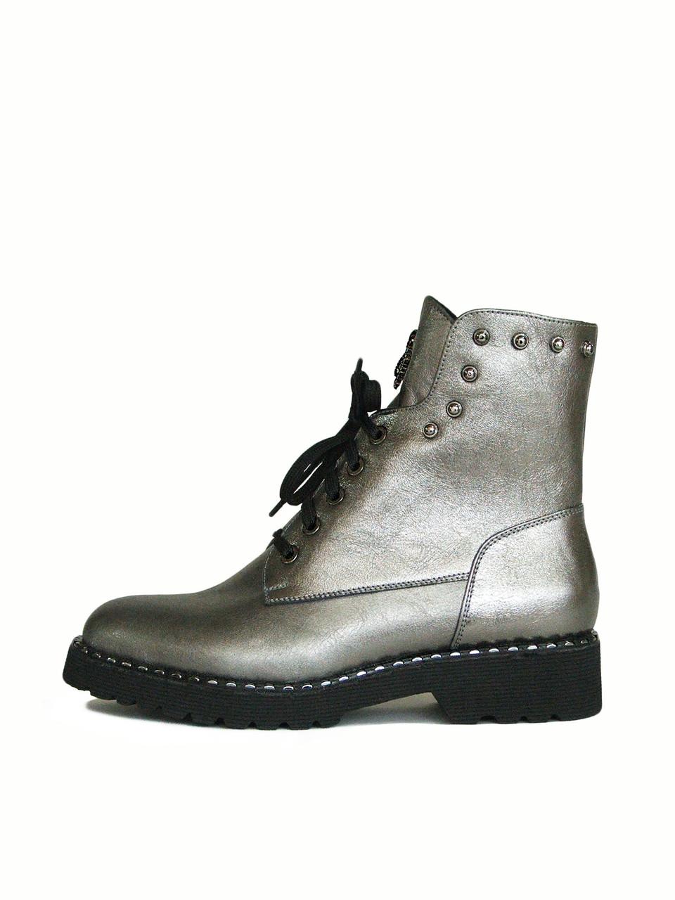 Серебристые женские ботинки на шнуровке