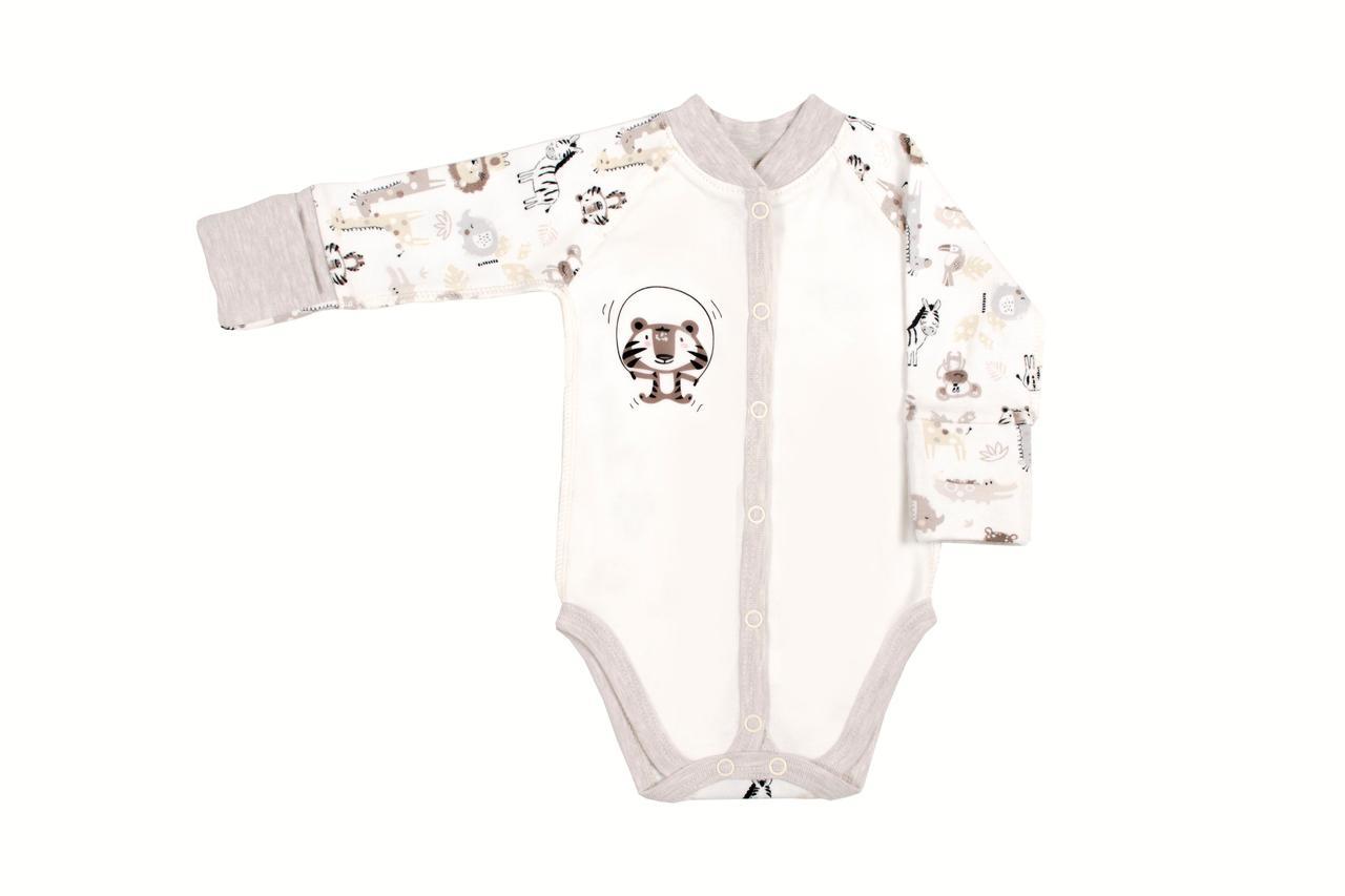 Боди для новорожденных Верес Crazy Zoo beige-2 интерлок молочный