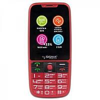 Телефон кнопочный с большим экраном бабушкофон Sigma Comfort 50 Elegance 3 красный