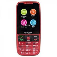 Телефон кнопочный с большим экраном бабушкофон с озвучкой цифр при наборе Sigma Comfort 50 Elegance 3 красный