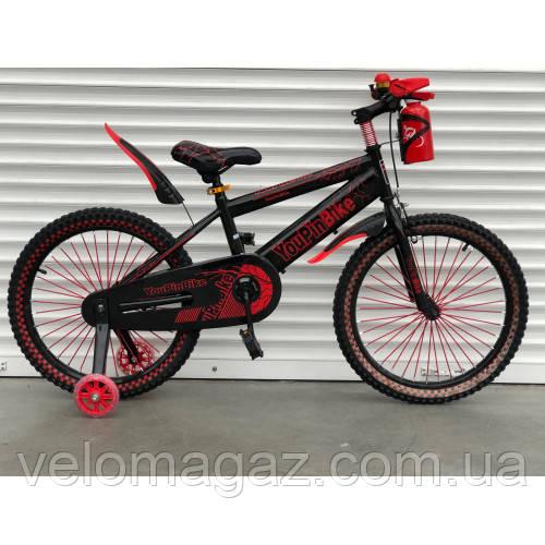 """Велосипед TopRider 869 20"""" красный детский двухколесный с бутылочкой"""