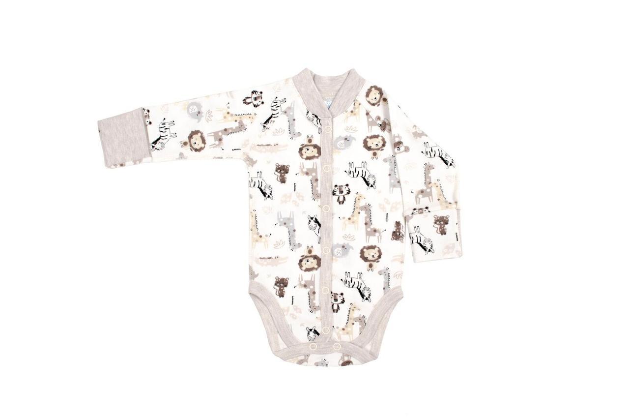 Боди для новорожденных Верес Crazy Zoo beige интерлок молочный