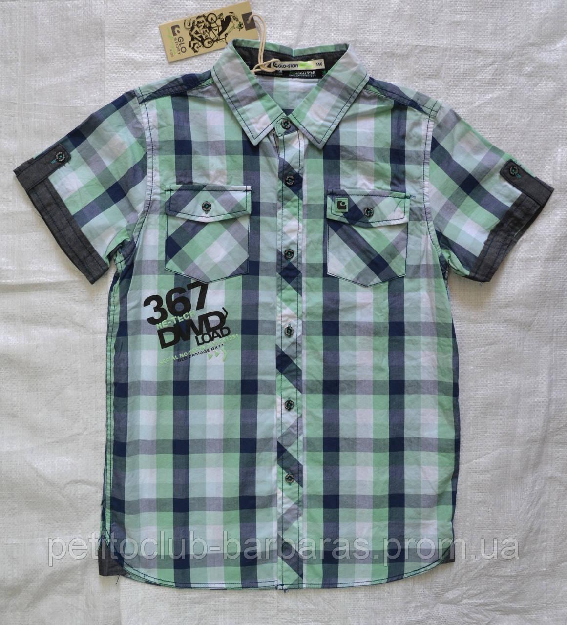 Летняя рубашка для мальчика в клетку зеленая (Glo-Story, Венгрия)