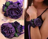 """""""Фиолетовая мечта"""" браслет на руку с фиолетовыми пионами"""