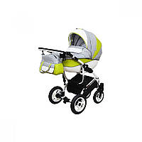 Детская универсальная коляска 2 в 1 Angelina Grand Mirage White (1241010041-серо-салатовая)