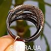 Стильное серебряное кольцо Дюны: коньячный фианиты и темный родий, фото 7