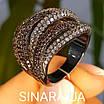 Стильное серебряное кольцо Дюны: коньячный фианиты и темный родий, фото 6