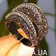 Стильное серебряное кольцо Дюны: коньячный фианиты и темный родий, фото 5