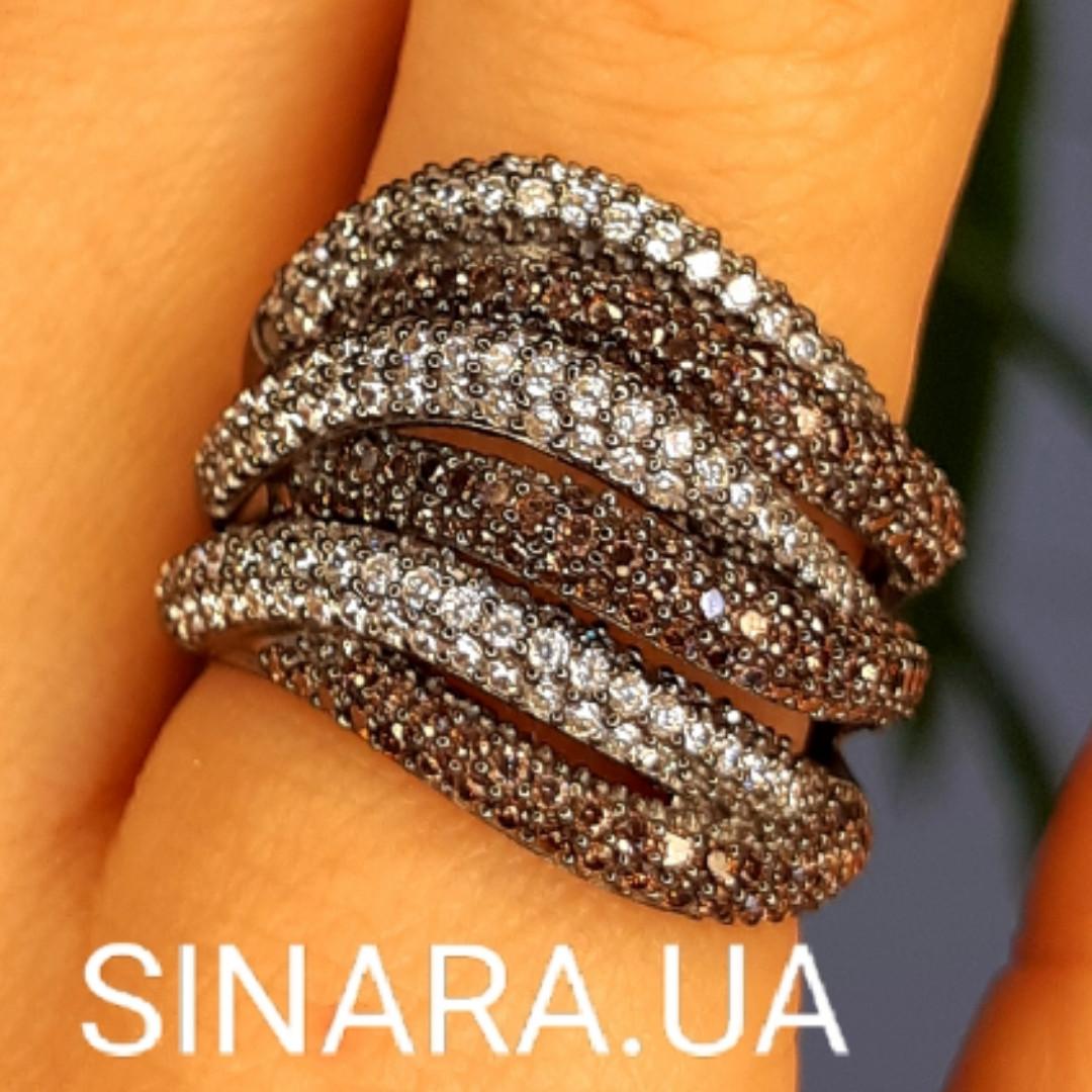 Стильное серебряное кольцо Дюны: коньячный фианиты и темный родий