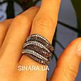 Стильное серебряное кольцо Дюны: коньячный фианиты и темный родий, фото 4