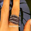 Стильное серебряное кольцо Дюны: коньячный фианиты и темный родий, фото 3