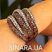 Стильное серебряное кольцо Дюны: коньячный фианиты и темный родий, фото 2
