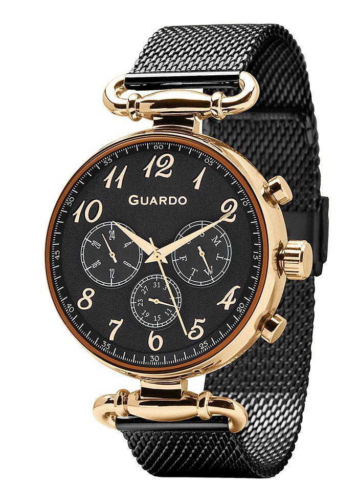 Годинники жіночі Guardo 11221-6 чорно-золоті